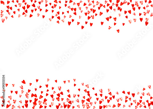 Valentine Day Border With Red Glitter Sparkles February 14th Day