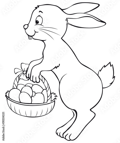 Cute Jumping Easter Bunny With Basket Coloring Page