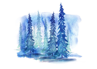 Watercolor trees, forest, pine, blue spruce, landscape. In different embodiments. Illustration made for a different design. Isolated on white background