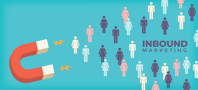 Magnet pulling people for inbound lead generation for digital marketing symbol