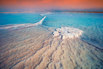 Fototapete - Sunrise over Dead Sea. Salty textured sea shore. Wilderness of Israel