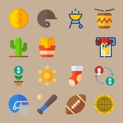 Icon set about United States. with coin, badge and exchange
