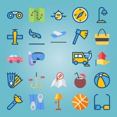 Icon set about Beach And Camping. with beverage, aircraft and hand gesture
