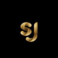 Initial lowercase letter sj, swirl curve rounded logo, elegant golden color on black background