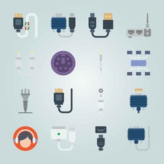 Icon set about Connectors Cables. with cables, digital visual interface and port