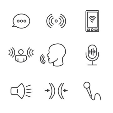 Voice Recording & Voiceover Icon Set with Microphone, Voice Scan Recognition Software