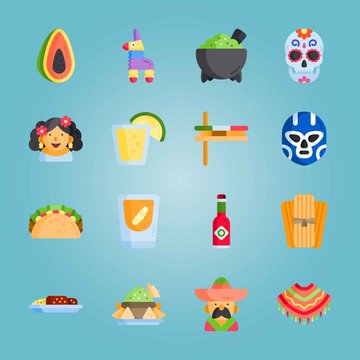 Icon set about Mexican Holiday De Mayo. with mexican man, taco and mole poblano