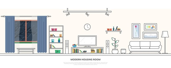 Interior of a modern living room in a linear style. Vector illustration.