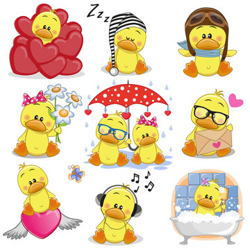 Set of Cute Cartoon ducks