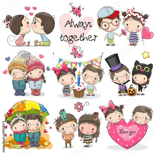 Set Of Cute Cartoon Boy And Girl Stock Image And Royalty Free - Cartoon-boy-images-free