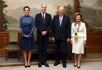 Britain's Prince William and Catherine, The Duchess of Cambridge, pose for a picture with Crown Prince Haakon and Crown Princess Mette-Marit, and King Harald and Queen Sonja of Norway before a lunch in Oslo
