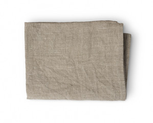 Used rumpled folded linen kitchen towel isolated on white background