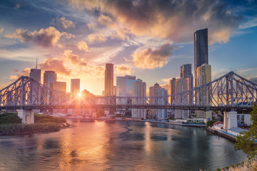 Canvas Prints Oceania Brisbane. Cityscape image of Brisbane skyline, Australia with Story Bridge during dramatic sunset.