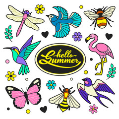 Hello Summer patches collection. Vector illustration of colorful doodle summer birds and insects, such as hummingbird, flamingo, swallow, blue jay, dragonfly, butterfly and bee. Isolated on white.
