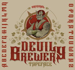 Retro font set with hops ornament, devil and pentagram for making label design.