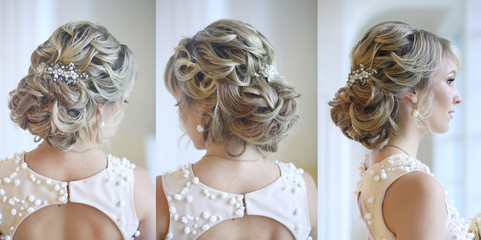 wedding hairstyle from curls and jewelry