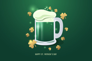 Image of pint of beer to St. Patrick's day. Mug of beer with white foam and gold clover leaves. Vector illustration.