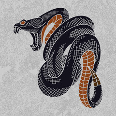 Viper snake in Ink technique, good for poster, sticker, tee shirt design.