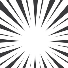 Black and white pop art abstract background with sunbeams. Vector illustration