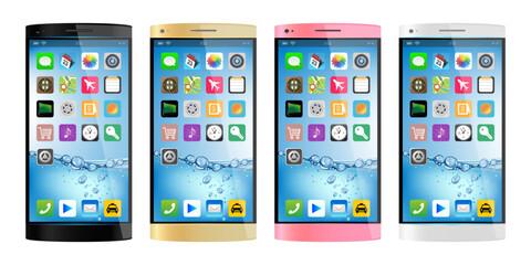 スマートフォン4色アイコンありのイラスト