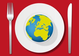 terre - assiette - environnement - énergie - concept - globe - planète - écologie - consommation