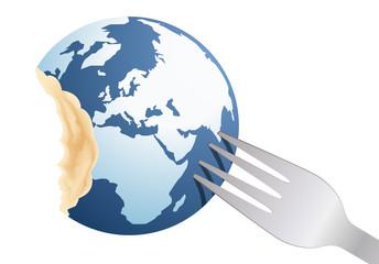 terre - environnement - fourchette - énergie - concept - globe - planète - faim - écologie - destruction - monde