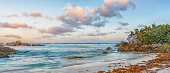 Landscape of Caribbean sea at sunrise