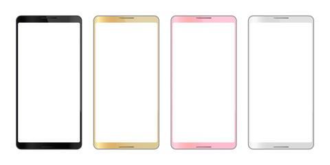 スマートフォン4色アイコンなしフレームのイラスト
