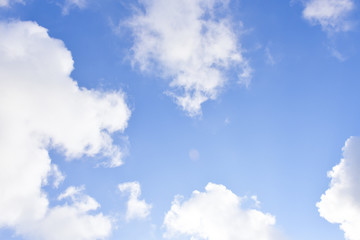 Blue sky and white clouds white background