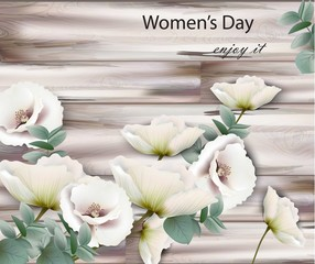 Women day card with white flowers Vector. Wood texture backgrounds