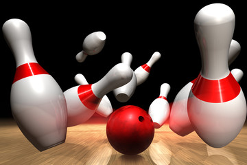 3D rendering of a strike on a bowling game
