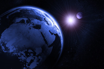3D Rendering of the Moon and earth before a solar eclipse