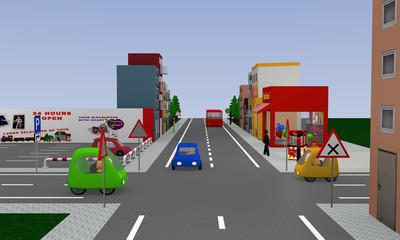 Stadtansicht mit rechts vor links Kreuzung, bunten Autos und Straßenschildern. 3d render