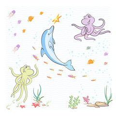 Under the sea. The little octopuses having fun with a Dolphin.