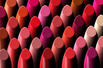 3D render of a large assorment of lipsticks