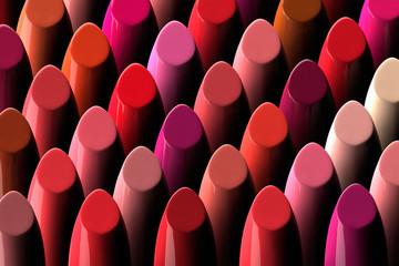 3D render of a large assorment of lipsticks Wall mural