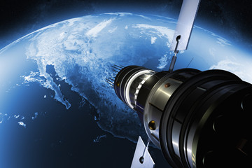 3D render of a satellite orbiting the earth