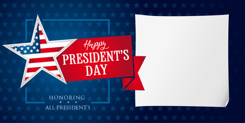 Happy Presidents day star and ribbon banner template. Happy President`s Day greeting card for web banner vector illustration