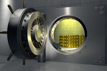 3D render of a bank vault with stack of gold bars inside