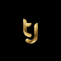Initial lowercase letter tj, swirl curve rounded logo, elegant golden color on black background