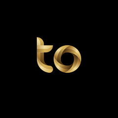 Initial lowercase letter to, swirl curve rounded logo, elegant golden color on black background