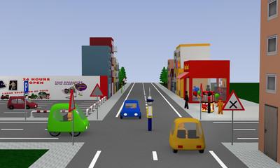 Stadtansicht mit Verkehrsregelung durch einen Polizisten. 3d render