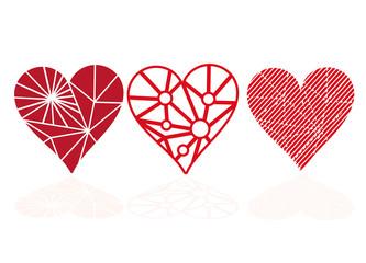 Drei Herzen für eigene Gestaltung