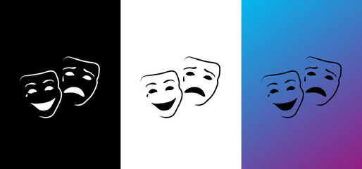 Happy and sad mask, logo opera & carnival image, illustration, vector icon AI / EPS 10 vol. 5