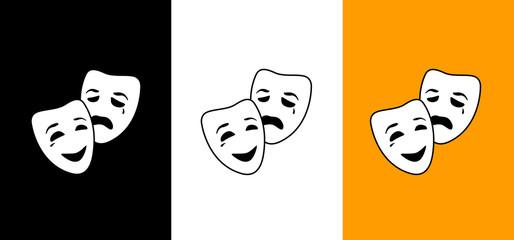 Happy and sad mask, logo opera & carnival image, illustration, vector icon AI / EPS 10 vol. 6