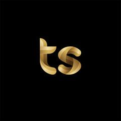 Initial lowercase letter ts, swirl curve rounded logo, elegant golden color on black background