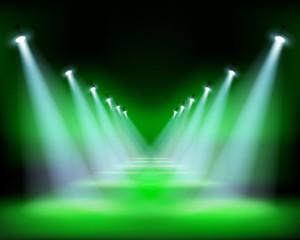 Runway show, light performance. Vector illustration.