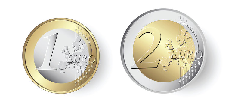 1 and 2 Euro coin