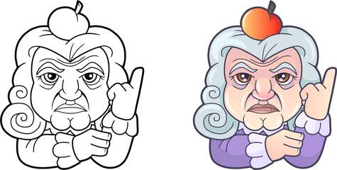 famous cartoon scientist Isaac Newton, funny illustration