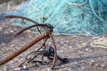 rusted old ship anchor